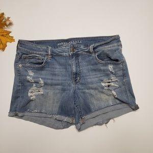 American Eagle Distressed Midi Stretch Jean Shorts